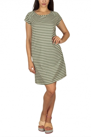 Soft Rebels Stella striped mini dress aloe green-ecru