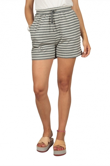 Soft Rebels Stella striped shorts grey-off white