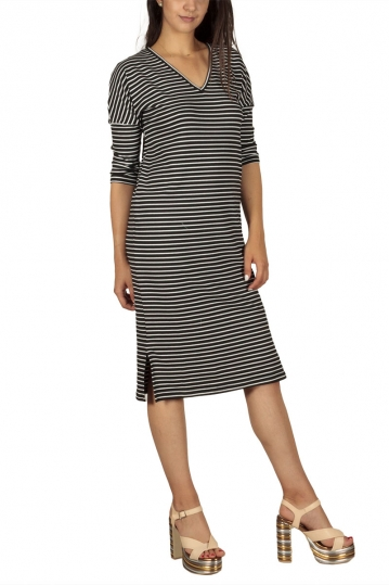 Soft Rebels Think striped midi dress black