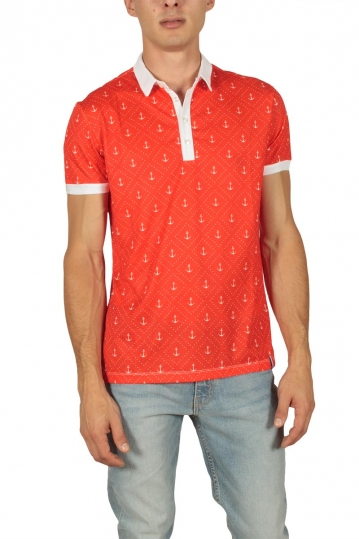 French Kick Anchors men's polo red