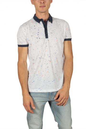 French Kick Peinture men's polo white