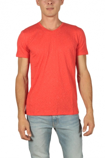 French Kick men's t-shirt Vee bright coral