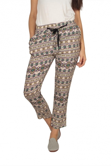 Women's cigarette pants with retro print