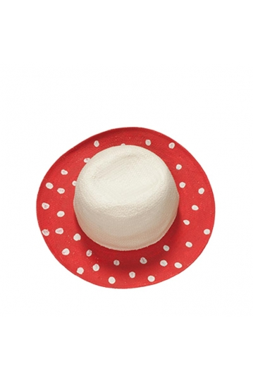 Painted straw hat red with dots
