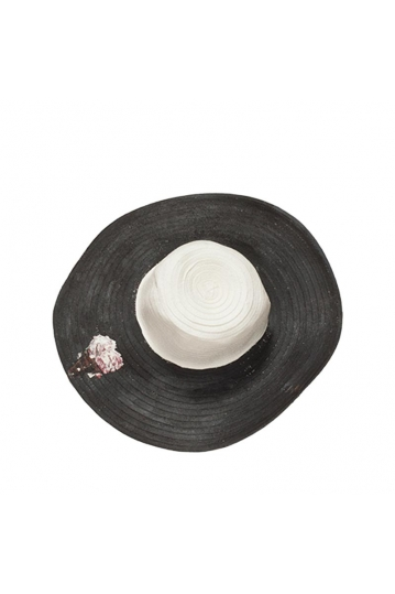 Painted straw hat black