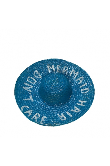 Painted straw hat blue with slogan