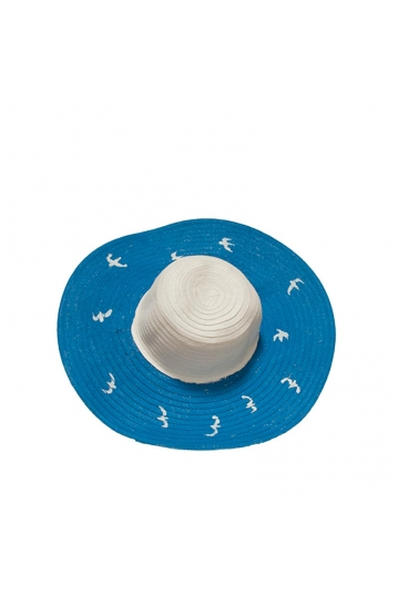 Painted straw hat blue with birds