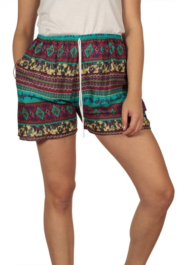 Women's shorts with vintage print wine-blue