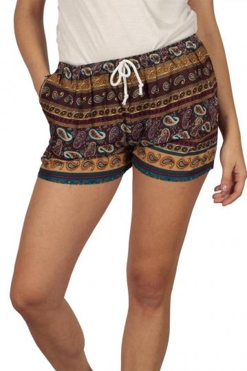 Women's shorts bordeaux in vintage print