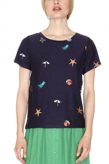Pepaloves Beach women's t-shirt navy