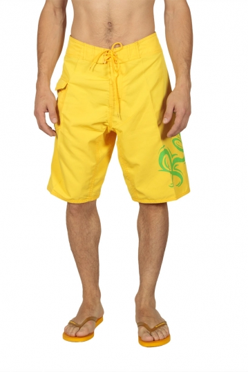 Reef men's boardshorts yellow with logo print