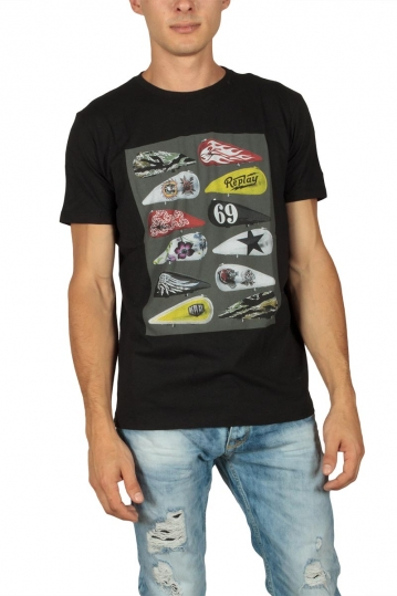Replay men's colourful print T-shirt black