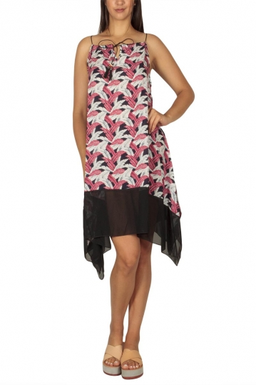 Asymmetrical strap dress with feather print