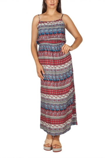 Maxi strap dress with red-blue vintage print