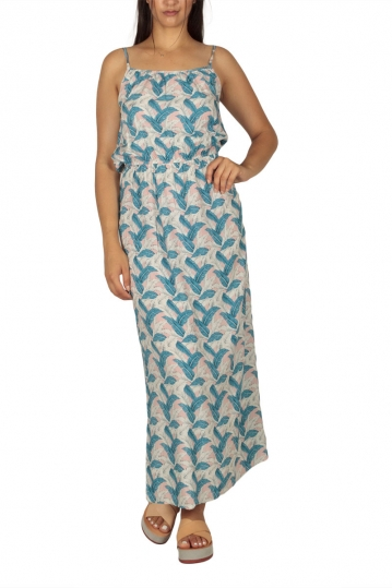 Maxi strap dress pink with blue-white feather print