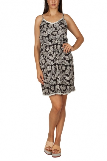 Strappy dress with monochrome ethnic print