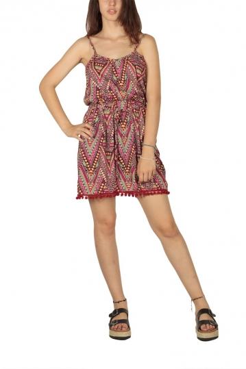 Printed mini dress fuchsia with pom pom