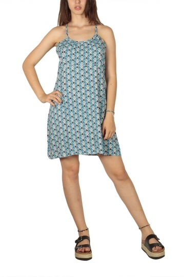 Strap dress in blue-black print
