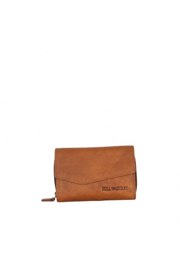 Hill Burry women's leather flap wallet brown