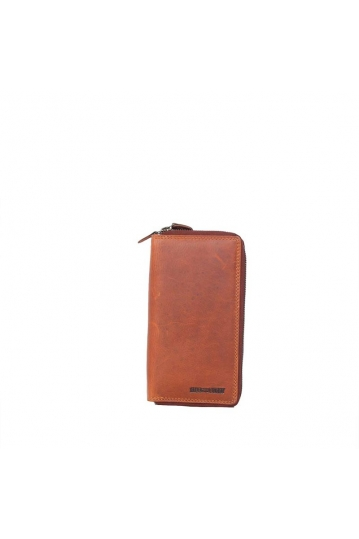 Hill Burry double zip leather wallet brown
