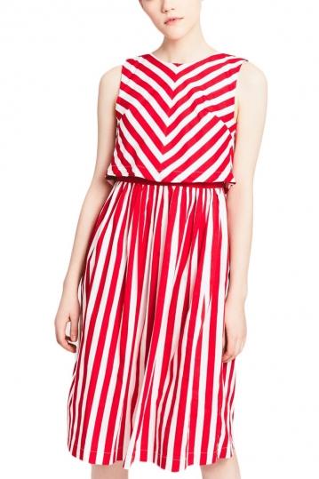 Migle + me sleeveless striped dress red-white