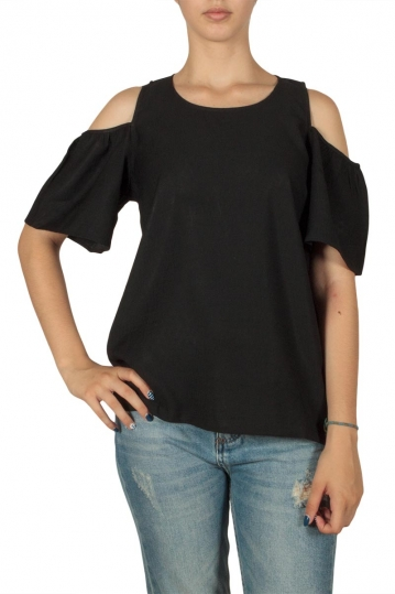 Minimum Eileen cut-out shoulder top black