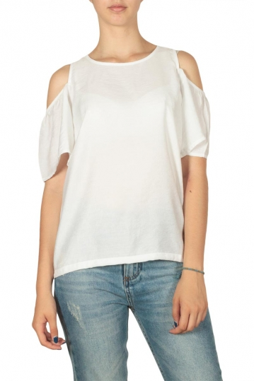 Minimum Eileen cut-out shoulder top white