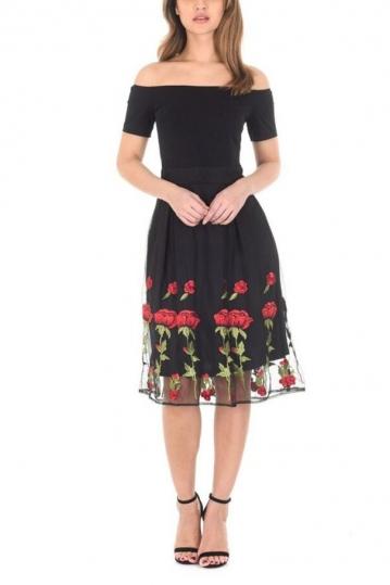 AX Paris embroidered Bardot dress black