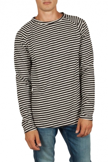 French Kick Ice raglan sweatshirt white-blue stripes