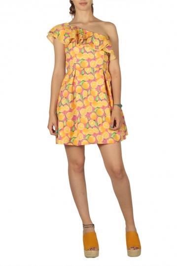 Migle + me Oranges one shoulder mini dress