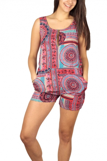 Sleeveless printed playsuit fuchsia