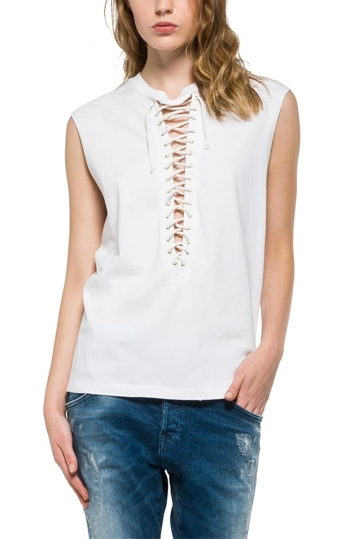 Replay cotton lace-up top white