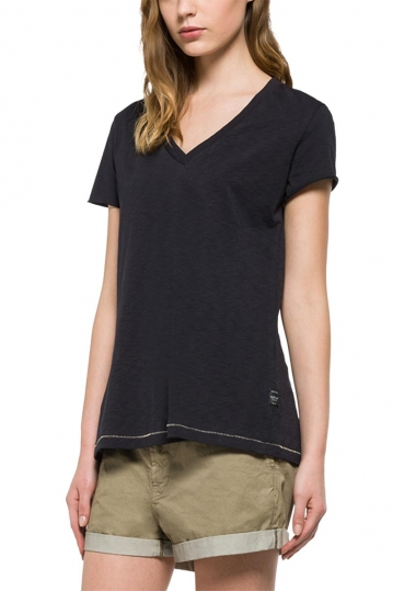 Replay t-shirt black with back slit