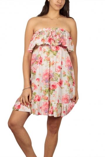 Strapless mini dress floral