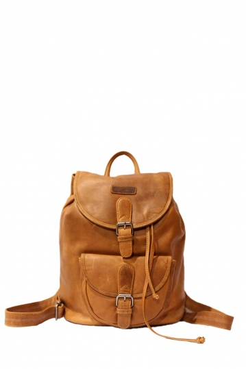 Hill Burry men's leather backpack in light cognac