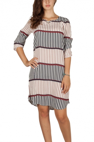 Soft Rebels Lilly striped dress white-navy-bordeaux