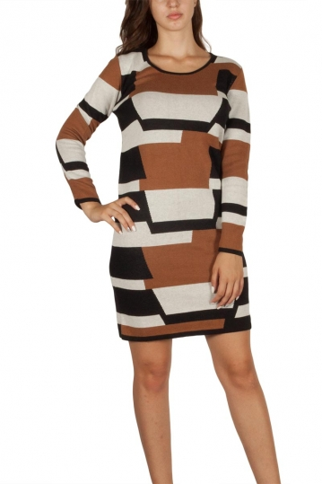Soft Rebels Rosemary knitted dress brown-black
