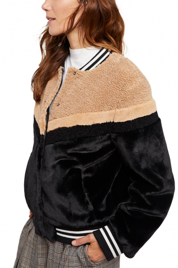 Free People Mixed Faux fur bomber jacket black