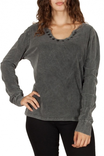 Women's stone washed top grey