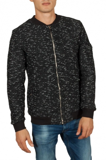 Anerkjendt Sam fleece lined sweat jacket caviar