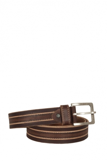 Men's leather belt brown with contrast stitching