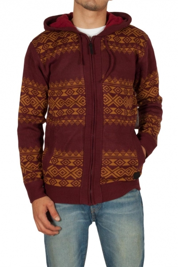 Globe Stash fleece lined cardigan bordeaux