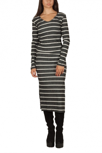 LTB Noyewo striped dress black melange-ecru
