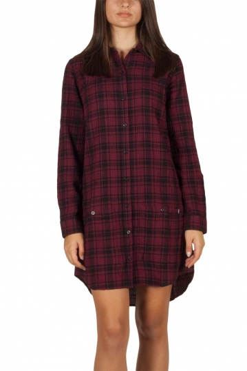 Obey Fairuza shirt dress in check cranberry multi