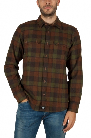 Dickies Cooperstown flannel shirt olive-brown
