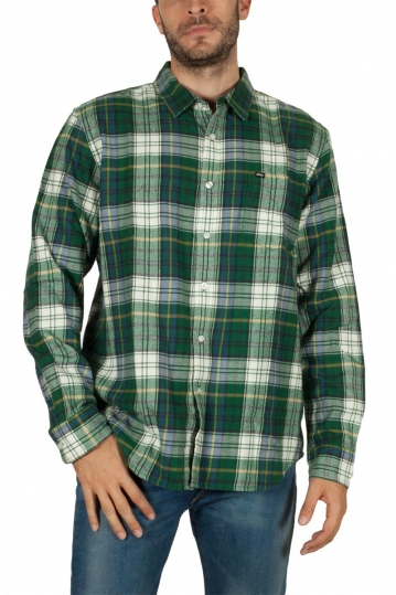 Obey Aiden flannel plaid shirt green