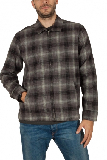 Obey Bristol flannel plaid zip up shirt charcoal