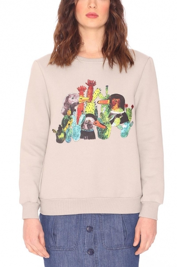 Pepaloves Duck & cactus sweatshirt grey