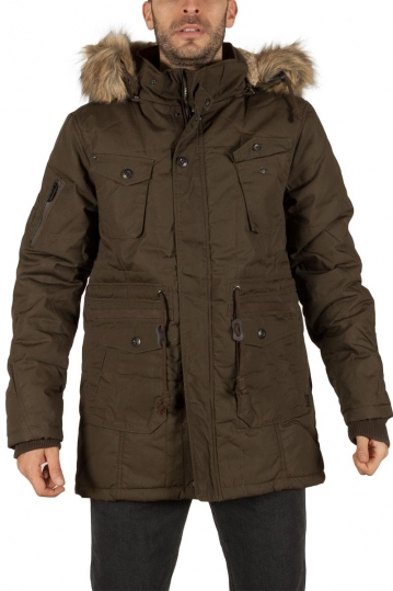 Men's hooded parka khaki