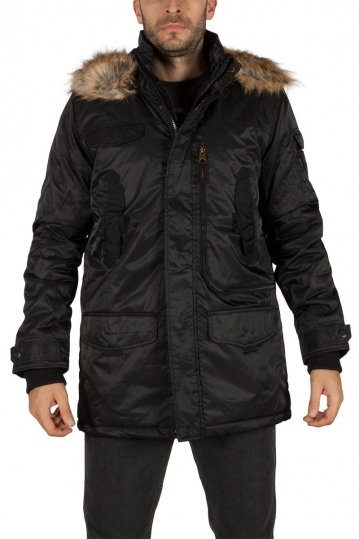 Men's hooded parka black